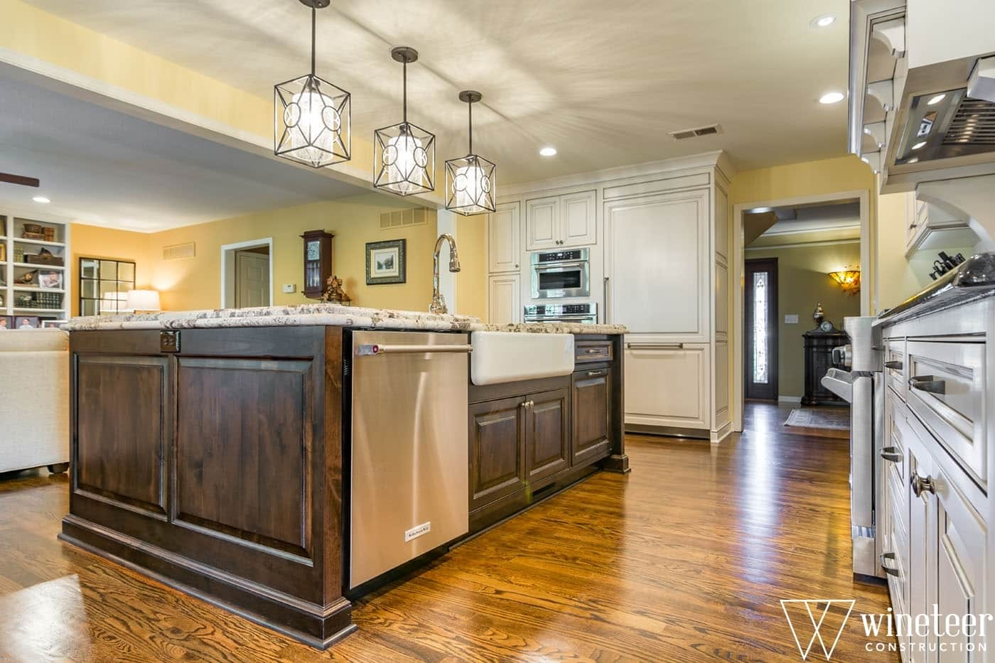 image on page for  / perceived to contain Flooring, Appliance, Electrical Device, Oven, Floor, Indoors, Interior Design, Kitchen, Room, Hardwood, Wood, Furniture, Lighting, Dining Room, Architecture, Building